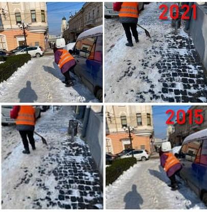 Комунальники Чернівців прозвітували про прибирання снігу фотографіями 2015 року